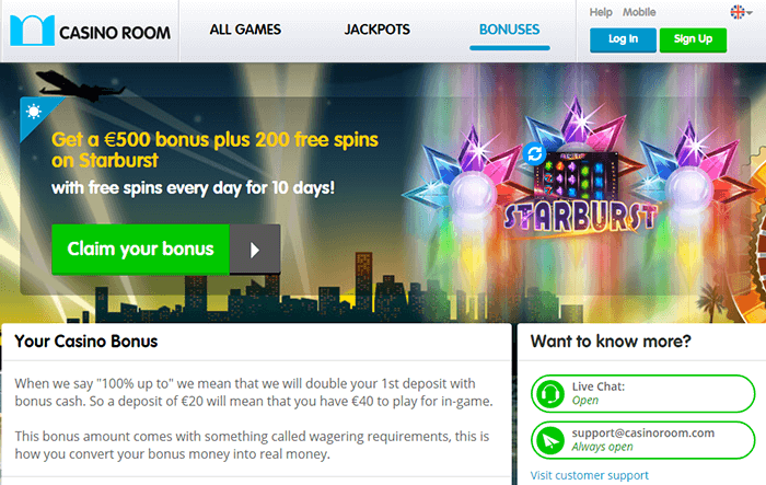 Casino Room Exclusive Bonus